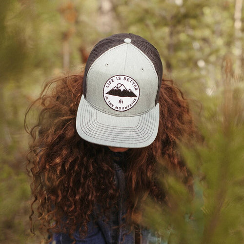 life is better in the mountains trucker grey