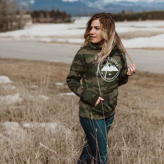 Life is Better in the Mountains Unisex Hoodie - Camo 1