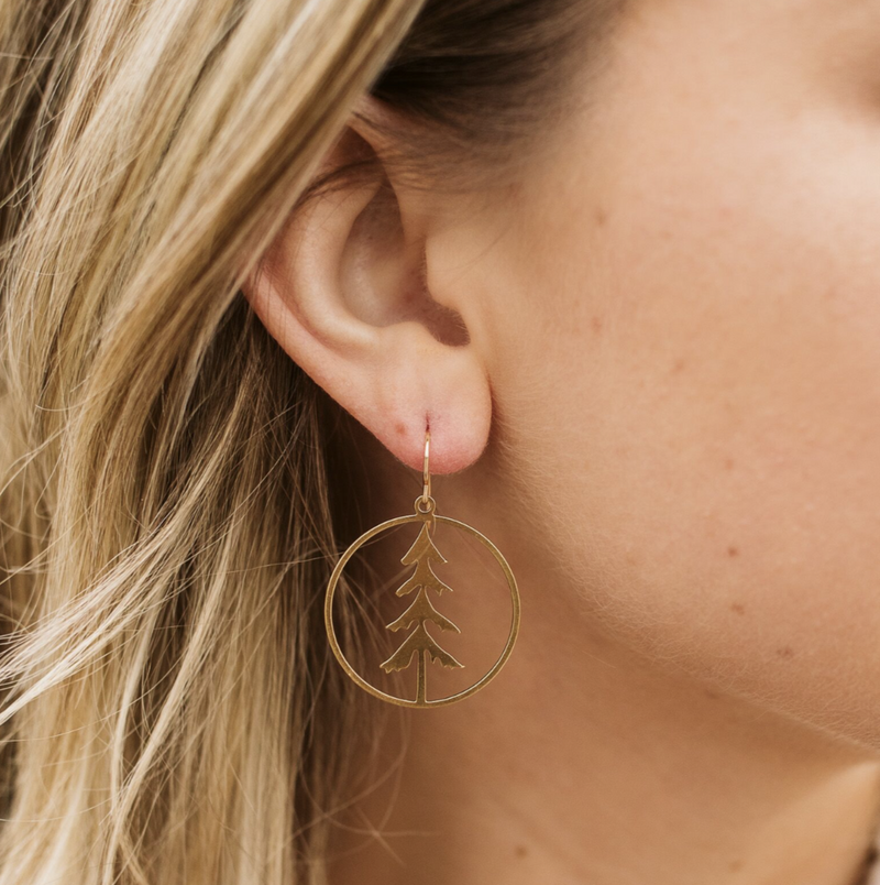 lone pine earrings gold