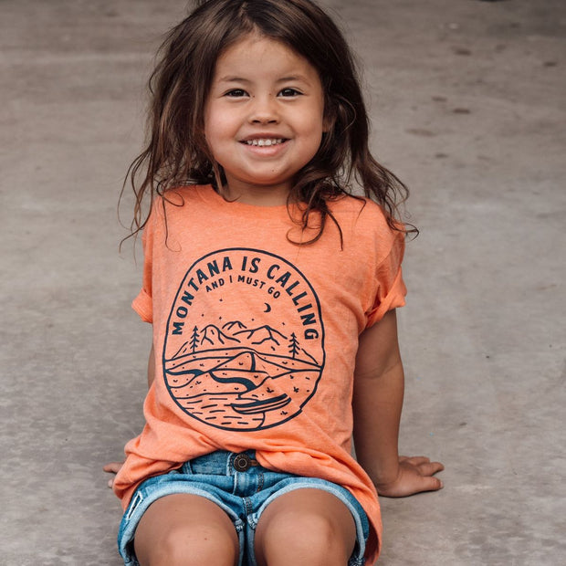 Montana Is Calling and I Must Go Youth Tee - Orange 1