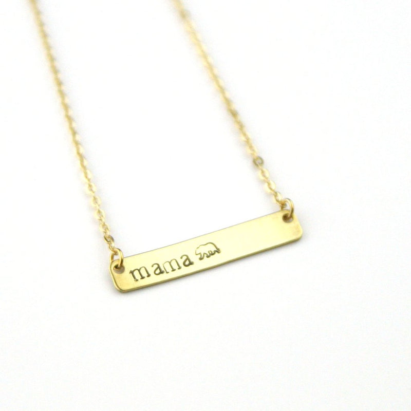 Mama Bear Stamped Bar Necklace - Brass