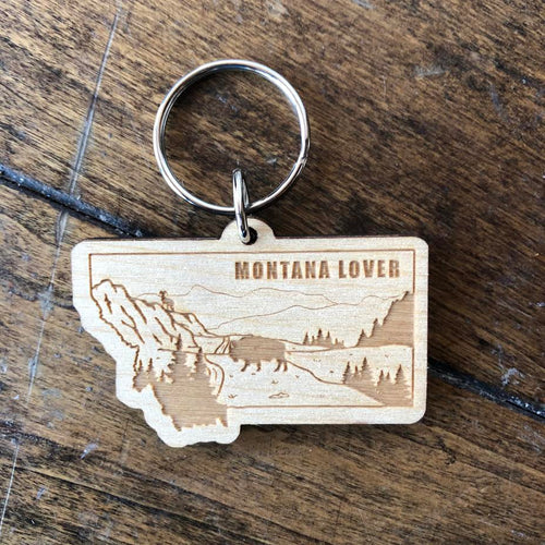 Montana Lover Wooden Key Chain