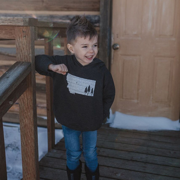Montana Trees Toddler Hoodie Charcoal