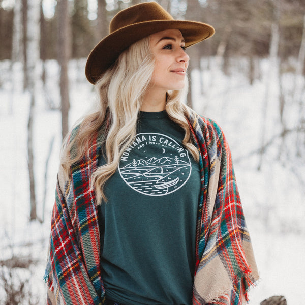 Montana is Calling and I Must Go Unisex Tee - Green