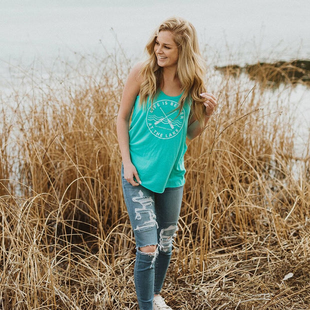 Teal life is better at the lake ladies tank 1
