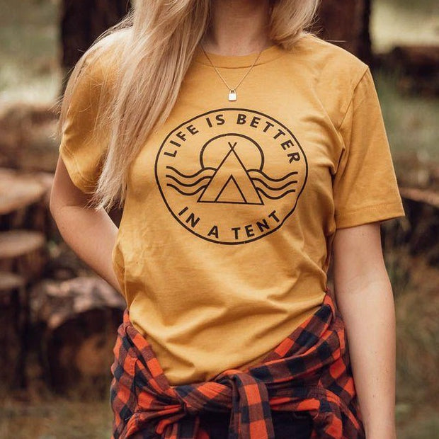 Life is Better in a Tent Unisex Tee - Mustard 1