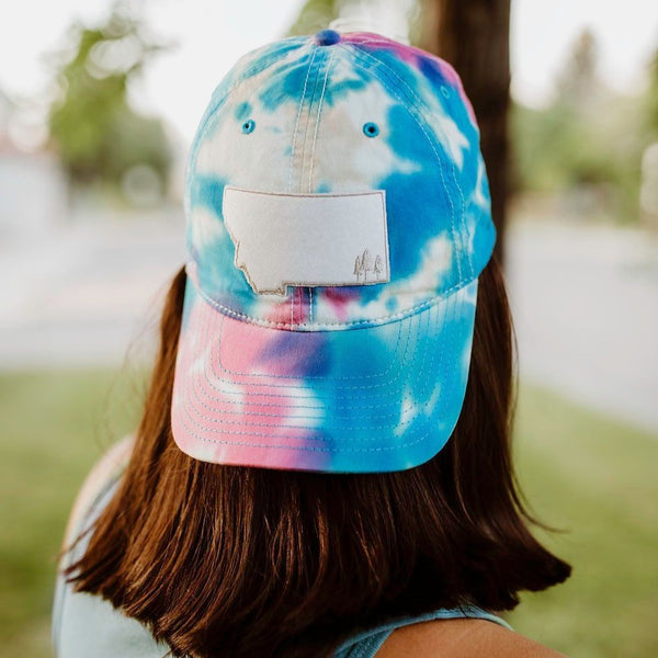 Montana Trees Dad Hat - Pink/Blue Tie Dye