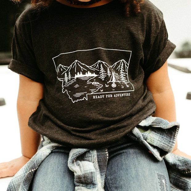 Ready for Adventure Toddler & Kids Tee - Charcoal 1