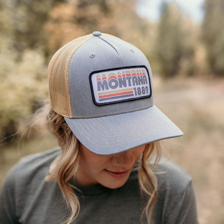 Montana Scene Tree Trucker Grey