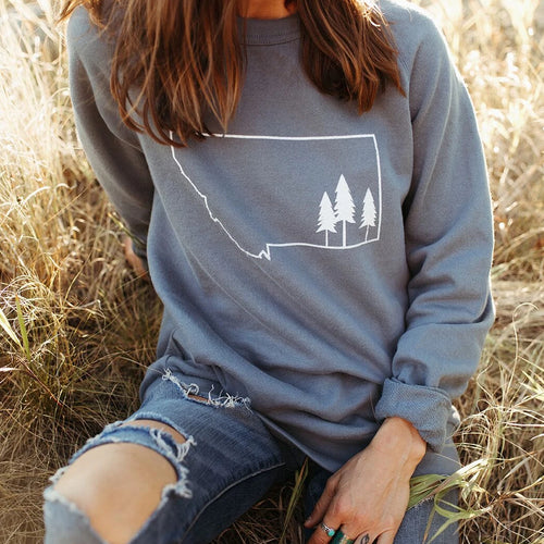 montana tree outline pullover