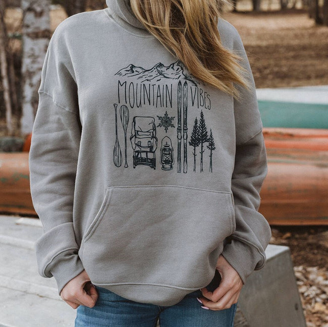 Mountain Vibes Unisex Hoodie - Taupe