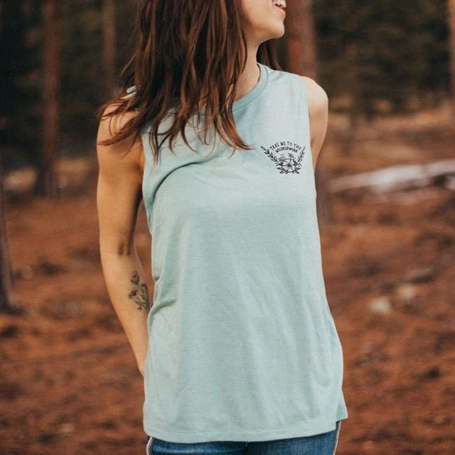 Take Me To the Wildflowers Ladies Muscle Tank - Dusty Blue