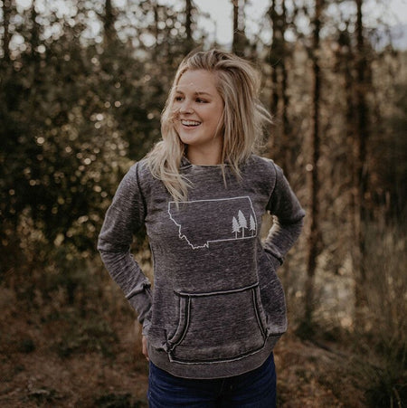 Where the Buffalo Roam Ladies Flowy Tee - Charcoal