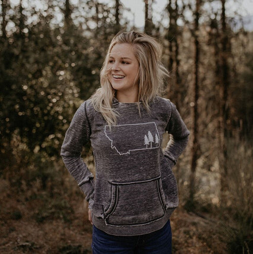 Montana Tree Outline Ladies Hoodie - Grey