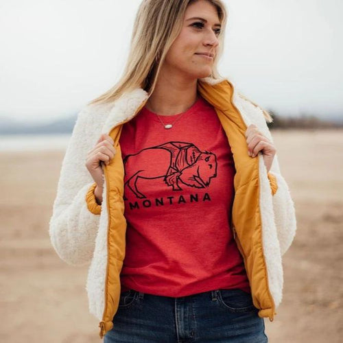 montana bison tee red