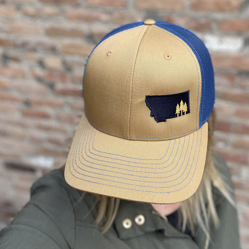 Montana Scene Tree Trucker Gold/Navy