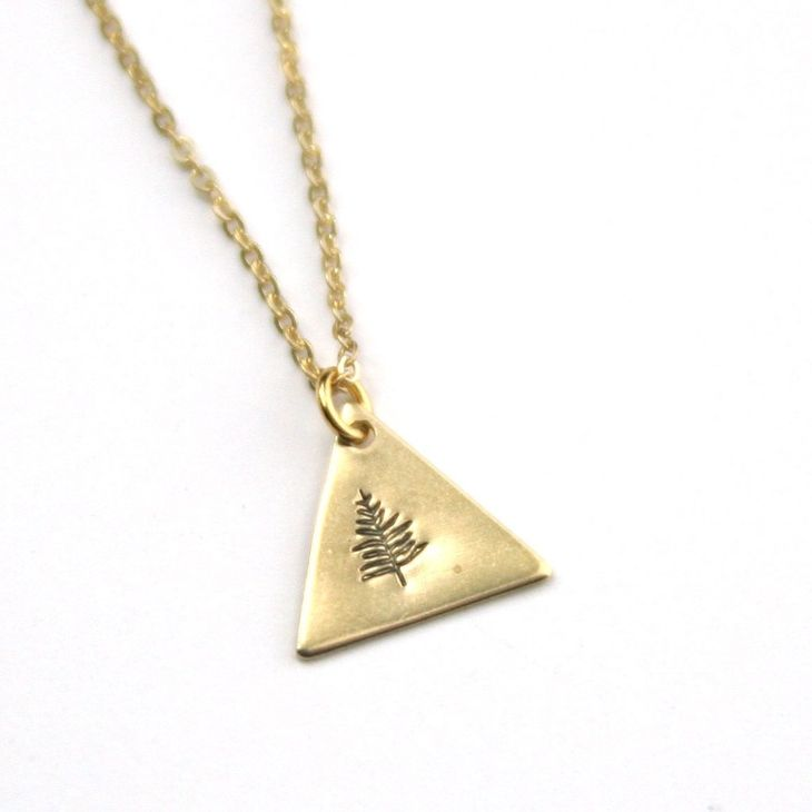 Tree Stamped Necklace - Brass