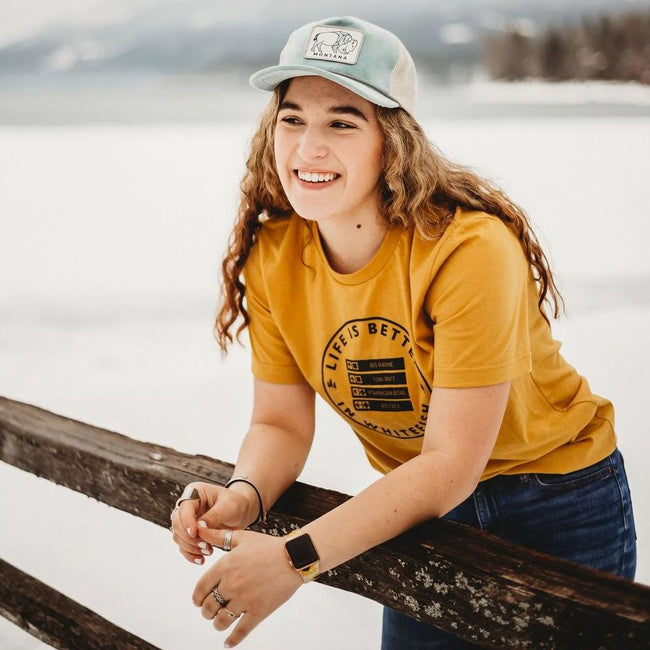 Life is Better in Whitefish Unisex Tee - Mustard