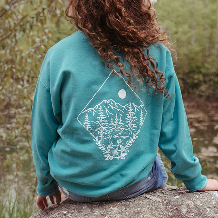 Chasing Wildflowers Ladies Crew Fleece - Charcoal