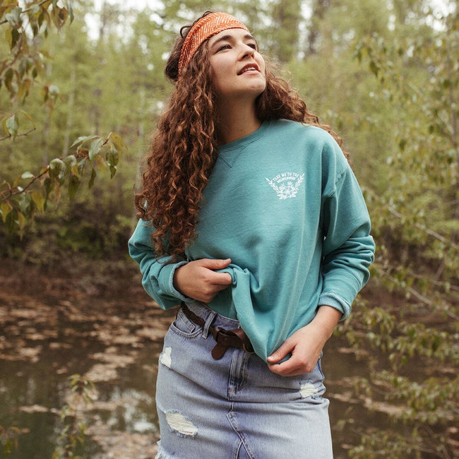 Take me to the Wildflowers Unisex Pullover - Teal