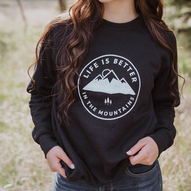 Life is Better in the Mountains Unisex Fleece - Black 1