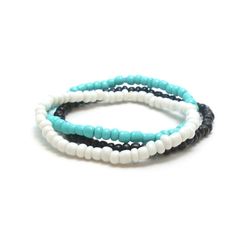 Blue bracelet stack for summer