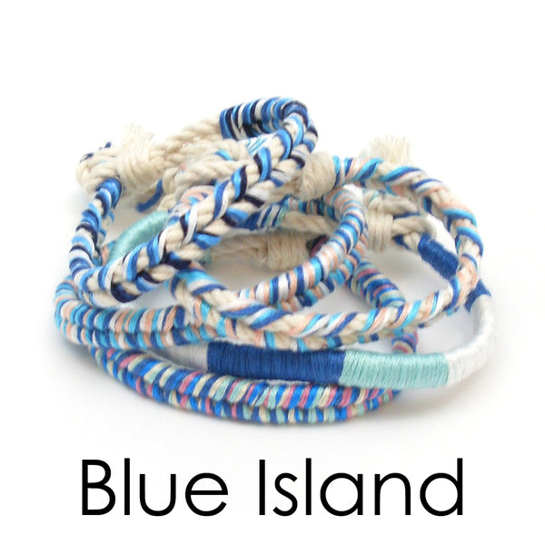 10 pack of blue boho bracelets