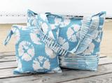 Blue sand dollar beach bag with matching wet travel bag
