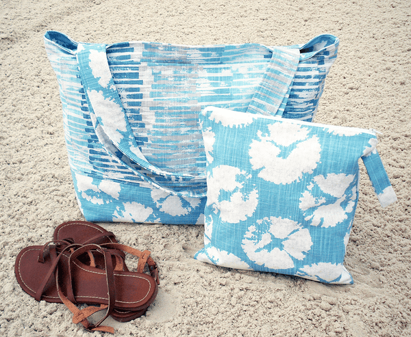 Blue Sand Dollar Beach Bag and Bathing Suit Wet Bag Combo