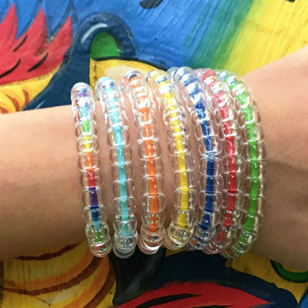 Red, White, and Blue Clear Color Bracelet Stack