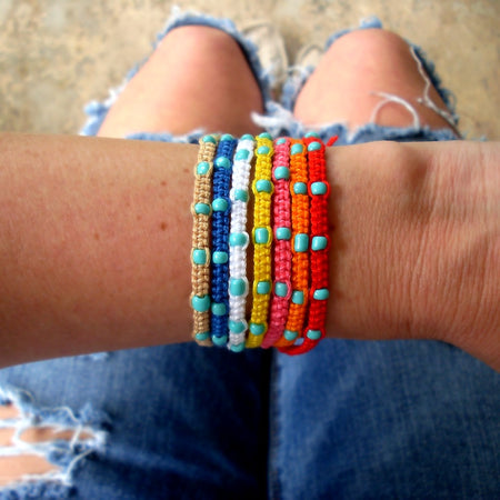 Red, White, and Blue Braided Friendship Bracelets