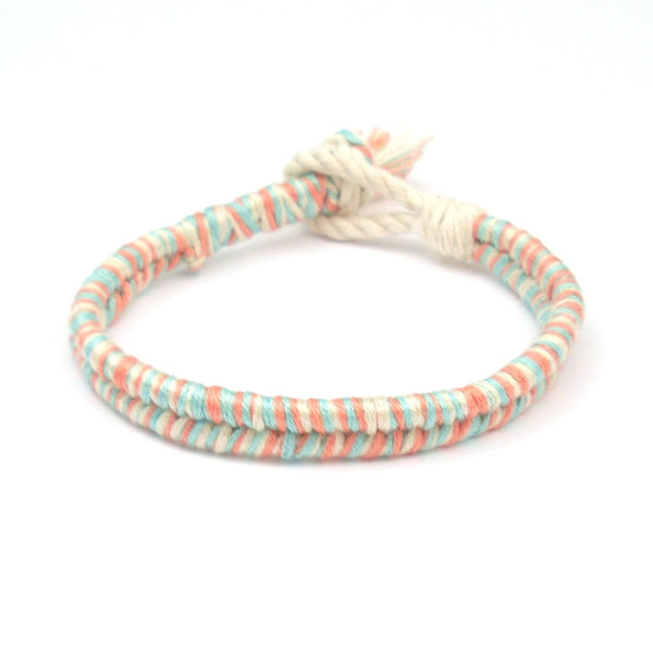 coral and seafoam boho beach bracelet