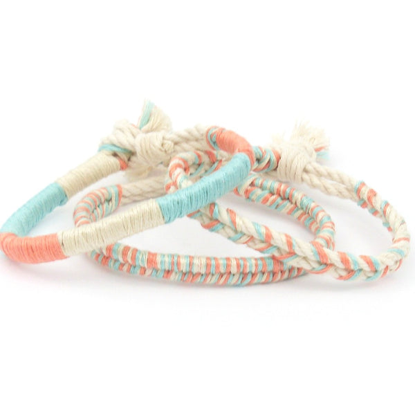 mint and coral beach bracelet
