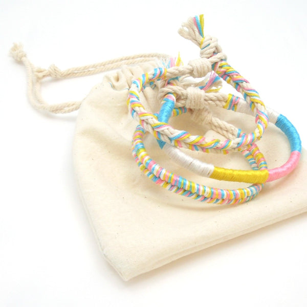 Cotton Candy Twisted Summer Boho Bracelet