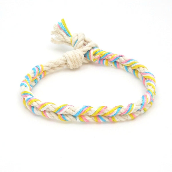 cotton candy braided summer bracelet