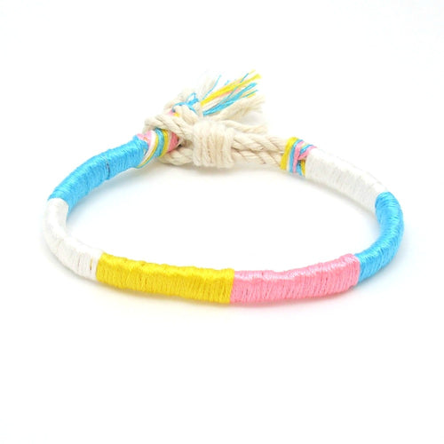 cotton candy twisted summer bracelet