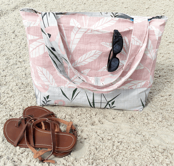 reversible beach bag with flamingo design