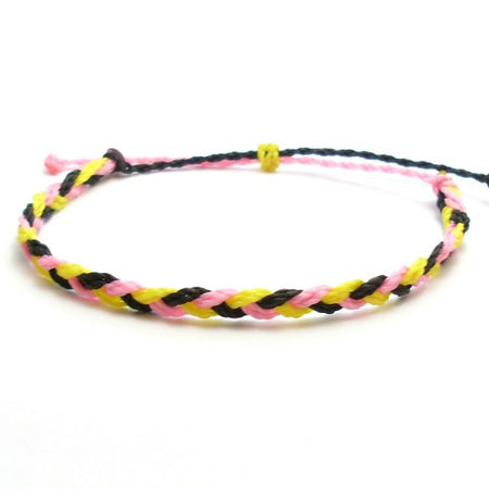 Pink Twist Braided Wax Bracelet