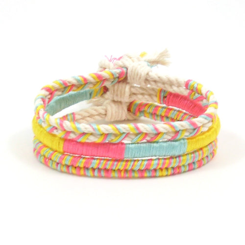 bright hippie bracelet stack