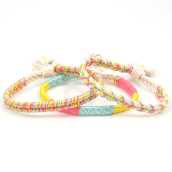 set of three bright colored hippie bracelets