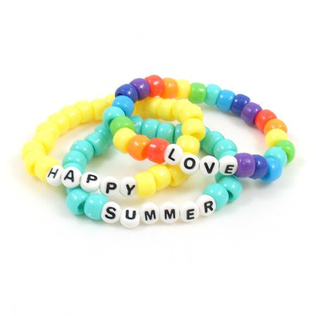 Pony Bead Word Bracelets in Mixed Colors