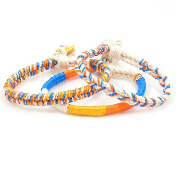 orange and blue summer beach bracelets