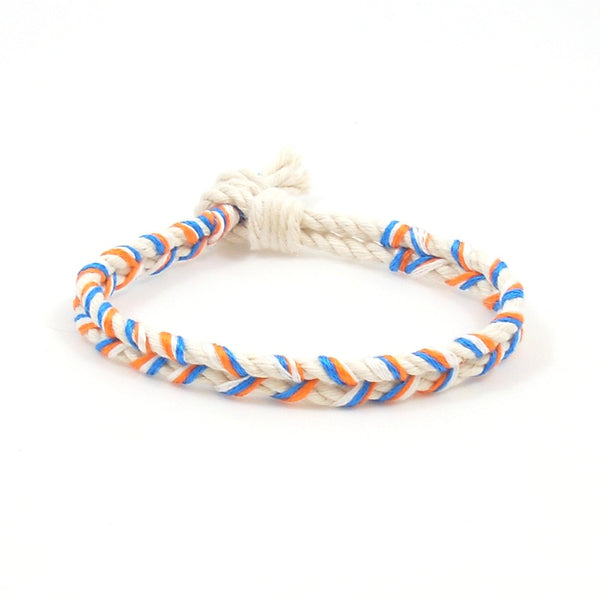 braided orange crush summer beach bracelet