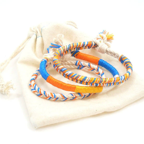 orange and blue summer beach bracelet