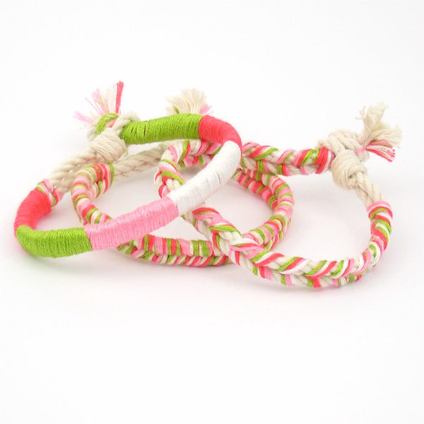 pink and green boho bracelet stack