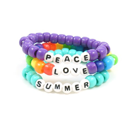 Pony Bead Word Bracelets in Solid Colors