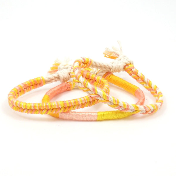 pink and yellow summer bracelets