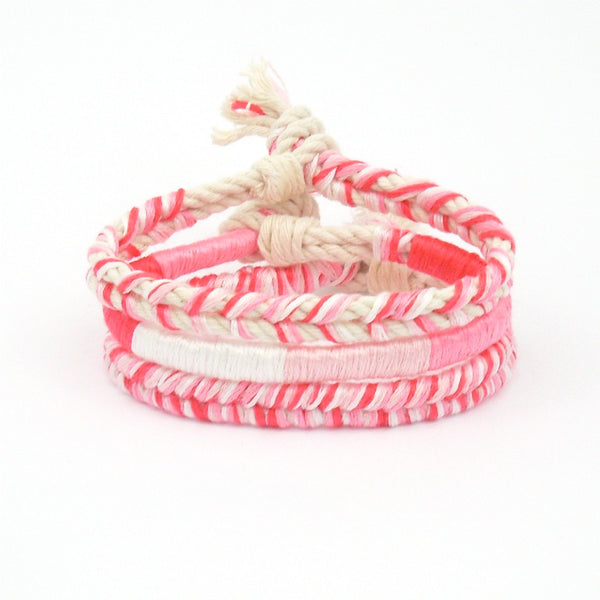 set of pink beach bracelets boho style