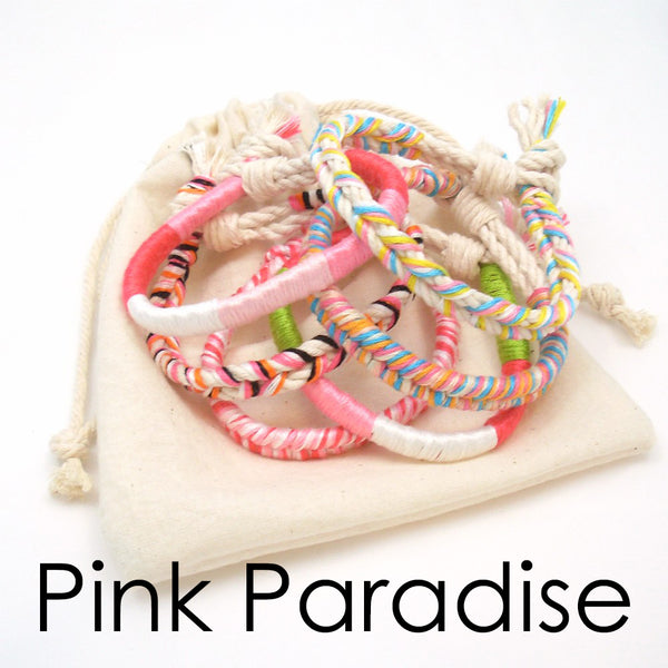 pink boho beach bracelets set of 5