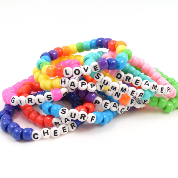 summer bracelets with pony beads and words